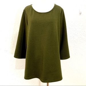 Ann Taylor Moss Green Textured Tunic Top